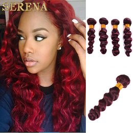$enCountryForm.capitalKeyWord Australia - Ombre Human Hair Extensions Brazilian Loose Wave Virgin Hair 4 Bundles 99J Loose Wave Ombre Burgundy Brazilian Virgin Human Hair Weave