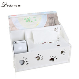 wood desk storage box 2019 - Wholesale- Dosoma Carving Rectangle Tissue Box For Living Room Wood-plastic Storage Box Home Desk Decor Napkin Holder wi