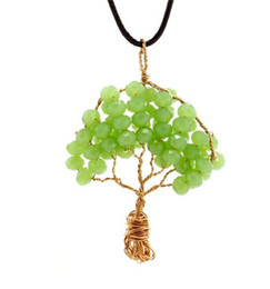 Wire Crystal Tree Australia - Stone Necklace Women Wire Wrapped Copper Tree Of Life Pendant Necklace Crystal Beads Wisdom Tree Necklaces Women Jewelry Fashion Accessories