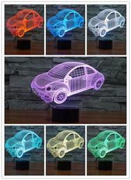 Car Nightlight Canada - 3D Lamp Night Light Beetle Car Led Night Lights for Kids USB Battary Table Desk Lamp Baby Children Gift Bedroom Sleeping Nightlight