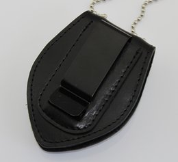 Chinese  LAPD Clip On Belt Neck Chain Leather Police Badge Holder manufacturers