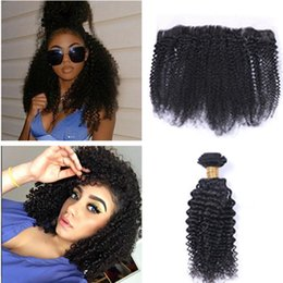 Afro Hair Extensions Bundles Australia - Peruvian Virgin Human Hair Extension Kinky Curly Weaves 3 Bundles With Lace Frontal Natural Black Afro Kinky Curly Hair Bundles With Frontal