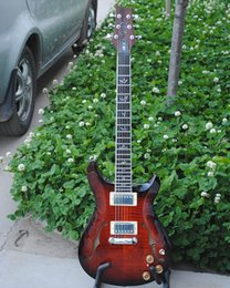Mahogany Hair Canada - free shipping Personal Tailor ox hair red Electric guitar with f Hole and double OUTPUT Rosewood Fingerboard Can customization