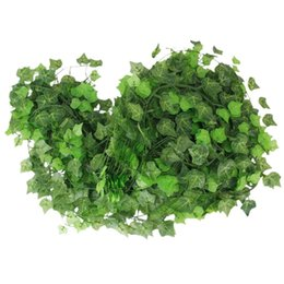 Garland Flowers Fake Canada - 12pcs 2.4M Atificial Fake Hanging Plant Leaves Garland for Home Garden Wall Decoration Flower Planter Green Field