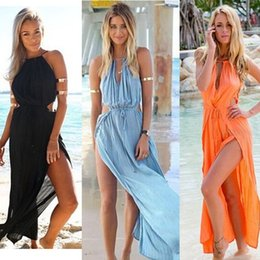 Maxi Long Été Plage Sundresses Pas Cher-2017 Nouveau Hot Fashion Summer Femmes bandage V-cou Beach Boho Maxi Sundress Soirée Party Long Dress