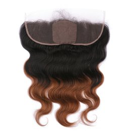 silk base frontals UK - 1B 30 Dark Root Medium Auburn Ombre Silk Base 13x4 Lace Frontal With Baby Hair Body Wave 2Tone Ombre Silk Top Lace Frontals