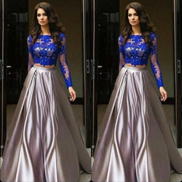 Discount robe soiree courte - 2019 Robe de soiree courte Royal Blue Two Pieces Prom Dresses Cheap African Long Sleeves Lace Appliques Evening Prom Dre