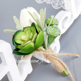 quality artificial plants Canada - corsage flower brooch pins white green yellow PU artificial Tulips Succulent plants for weddings high quality wholesale cheap price 2 styles