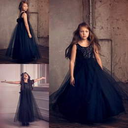 Gowns For Flower Girls NZ - Flower Girl Dresses Navy Blue For Wedding Free Shipping 3D Flower Beads Square Neck Sleeveless Party Wears Floor Length Pageant Ball Gowns