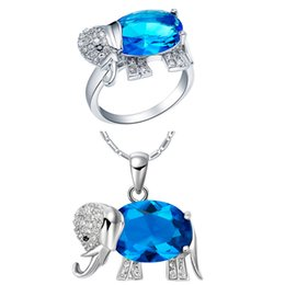 China Plated NEW set of 925 Sterling Silver Elephant suit set pendant ring three color semi precious stones set supplier precious stones jewelry sets suppliers