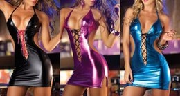 Femme Sexy Tentation Érotique Pas Cher-Femmes Sexy Pu Cuir Mini Robe Femme Sexy Nightwear Fille Night Club Wear Pole Danse Tentation Sexy Lady Erotic Lingerie