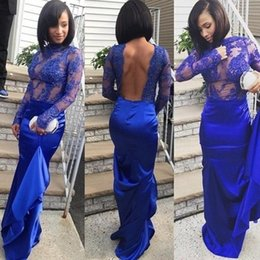 Barato Backless Vestidos De Mangas Compridas-Vestidos de noite para mulheres Royal Blue Illusion Backless See Through Mermaid Long Sleeved Prom Vestidos de festa High Neck Sexy Abendkleider
