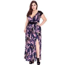 VITIANA Brand 2017 Womens Summer Elegant Sexy V Neck Clothing Print Maxi  Long Party Casual Dress Plus Size 5XL 6XL Vestidos 6bd3a0f08346