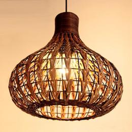 Southeast Asia Rattan Garlic Dining Room Ceiling Pendant Light Woven Lamp Handmade Study Restaurant Chandelier