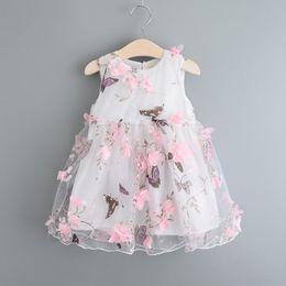 Lace Clothing Canada - Cute Baby Girl Summer Dress Kids Girls 3D Flower Princess Lace Dresses Girls tutu Dress Children Summer Clothing