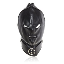Barato Conjuntos De Escravidão Adulto-Top Grade Sex Produtos Soft PU Leather Mask Hood Bondage Blindfold Sex Toys Para Casais Jogos para Adultos Fantasy Sex Cosplay Slave Set tamanho livre
