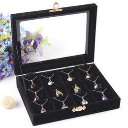 Venta al por mayor de Alta calidad caja de almacenamiento de joyas collar colgantes caso anillo pendiente del sostenedor accesorios de la joyería escaparate con tapa de vidrio