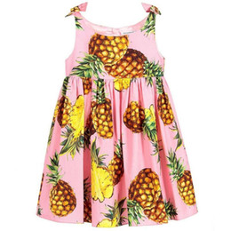 SuSpenderS for girlS 4t online shopping - Girl Pineapple Girls Dress with Bow Girls Clothes Sleeveless Princess Dress Kids Dress for Party