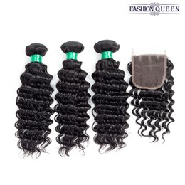 Human Brazilian Hair NZ - Brazilian Human Hair Deep Wave Lace Closure And Hair Weaves Brazilian Deep Curly Unprocessed Human Hair Weave 3 Bundles With Lace Closure