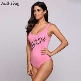 Bandage Pas Cher-Women Swimwer Letters Print Slim High Stretch Maillot de bain Ladies Bandage One Piece Maillot de bain Pink Slim One Piece Beach Beach Wear SVK031254
