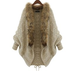 China Wholesale- 2016 Autumn Winter Women Cardigans Sweater Shawls Big Wraps Bat Sleeve Knit Cardigan Fur Shawl Collar Sweater Poncho Cape Coat cheap fur women wrap suppliers