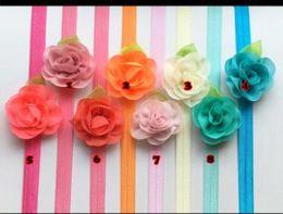 Silk Chiffon Wedding Canada - Chiffon rose flowers headbands with leaves headbands kids silk floral hair accessories for wedding party birthday gifts