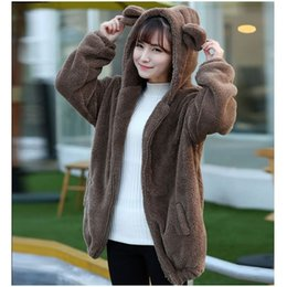 Cute Hoodies Ears Wholesale Pas Cher-Vente en gros- Automne Hiver Femmes Hoodies Zipper Girl Hiver Loose Soft Fluffy Ours Oreille Hoodie Veste Warm Outerwear Coat Mignon Sweat-shirt