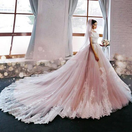 short ball gowns wedding dresses NZ - Luxury Wedding Dresses Ball Gown Off the Shoulder Wedding Dress Illusion Lace Short Sleeves Puffy Tulle Blush Bridal Gowns Appliques