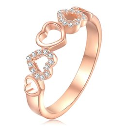 $enCountryForm.capitalKeyWord NZ - New Rose Gold Plated Solid 925 Sterling Silver Jewelry Wedding Ring For Women Fashion Hearts Design Lover's Gift Free Shipping