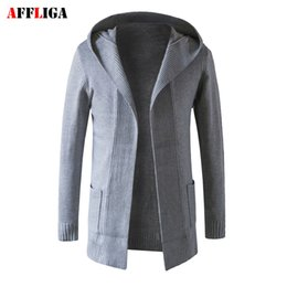 Barato Parte Superior Trench Da Luva Longa-Atacado- 2017 Men Sweater Wool Knitted Male Cardigan Jacket Slim Fit Casual Long Sleeve Trench Mens Sweaters Brand Hooded Coat Tops