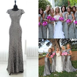 Robes De Demoiselle D'honneur Gris Sequin Pas Cher-2017 New Elegant Silver Grey Cap Sleeves Sequins Long Robes de demoiselle d'honneur Backless Mermaid Floor Length Wedding Party Robes de soirée