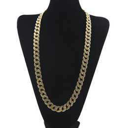 Cuban Linked Chain Canada - Hip Hop 18K Real Gold Plated MIAMI CUBAN LINK Bling Shiny Full Crystal Rhinestone Necklace Mens Bling Studded Cubra Chains Necklace Jewelry