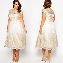 Vintage Lace Applique Plus Size Prom Dresses Cap Sleeves Square Neckline A  Line Formal Dress Tea Length Champagne Evening Gowns eeb60b723