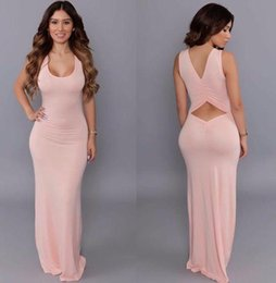 Largas Túnicas De Verano Damas Baratos-Summer Beach Dress 2016 mujeres del verano sin mangas sin espalda larga Maxi Bodycon Dress Casual Pink Ladies Party Club Robe Longue SML