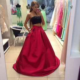 Wholesale black skirts stockings resale online - Hot Selling Two Piece Piece Black Top Dark Red Skirt Prom Dresses Evening Dresses for Women In Stock