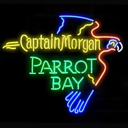 Parrot disPlay online shopping - Fashion Hanscraft CAPTAIN MORGAN RUM PARROT BAY Real Glass Beer Bar Display Neon Sign24x20