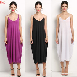 Barato Casual Vestido Preto Longo Praia-Hot Vestidos Pockets Summer Women Dress Casual Boho Strap Verão Sexy V Neck Praia Loose Long Maxi Dress Sólido Branco Roxo Preto SV020138