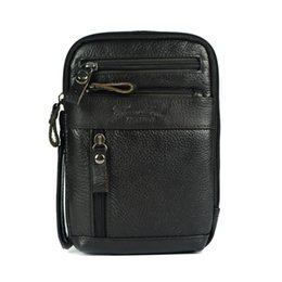 Discount leather mini shoulder bag for men - Wholesale-Genuine leather small messenger bags for men crossbody shoulder bag ipad mini handbags cowhide chest packs man