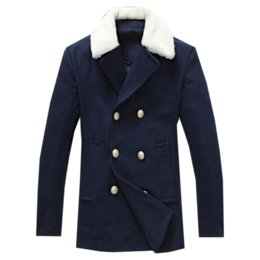Double Fourrure Pas Cher-Vente en gros - Fashion Designer Fur Collar Winter Trench Coat 2016 New Brand Double Breasted Wool Hommes Long Coat Plus Size 5XL