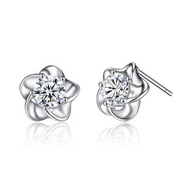 China Cute Kids Jewelry White Gold Color AAA+ Zircon Flowers Antiallergic Piercing Small Stud Earrings Party Gift for Children Girls suppliers