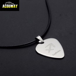Necklaces Pendants Australia - Wholesale- Acouway Guitar Pick Necklace pendant stainless steel made with black leather chain  12 constellation zodiac necklace pendant