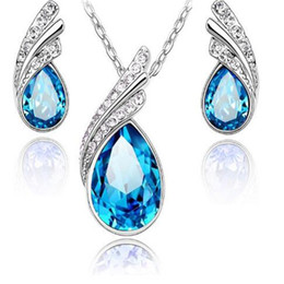 Luxury korean jeweLry online shopping - Austrian Crystal Luxury Set Korean High Grade Fashion Jewelry Set Necklace Earrings Drill Flash Jewelry for Women Cheap Gemstones