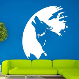 Wall Stickers Wolves Canada - Cool Graphics Moon Wolf Animal Living Room Hall Bedroom Wall Art Stickers Decals Vinyl Home DIY