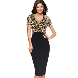 Robe De Tunique Pas Cher-New Dise Womens leopard Sexy Elegant V Neck Slim Tunique Clubwear Party Bodycon Fitted Gaine manches longues Crayon Dress