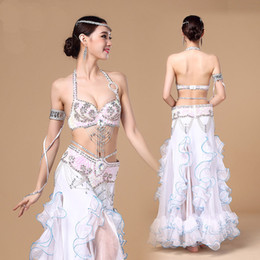Barato Dança Do Ventre Traje Conjunto Azul-New Arrivals Performance Oriental Belly Dancing Clothes 3-piece Suit Bead Bra, Belt e saia Belly Dance Costume Set