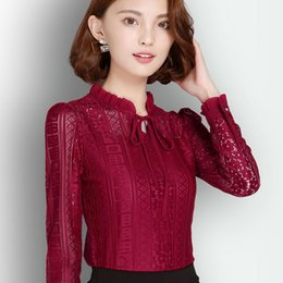 $enCountryForm.capitalKeyWord Canada - Autumn Bow tie blouse and shirts openwork Fashion lace Tops female long-sleeved Women Casual Chiffon Blouses Plus Size Blusas