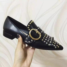 $enCountryForm.capitalKeyWord Canada - TOP QUALITY! u709 40 red black genuine leather stud belt pointy flats shoes p luxury designer runway