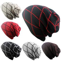 Red beanie foR women online shopping - High Quality Lattice Hat Leisure Plus Velvet Camp Skull Caps For Men And Women Dome Beanie Black Grey jb B