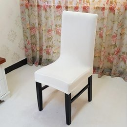 fold machine 2019 - White Spandex Stretch Dining Chair Cover Machine Washable Restaurant For Weddings Banquet Folding Hotel Chair Covering c