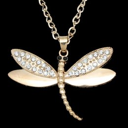 Discount long dragonfly necklace - Wholesale-2016 Long Rhinestone Dragonfly Necklace Gold Silver Chain Necklace Pendant Women Men Jewelry Accessories Anima